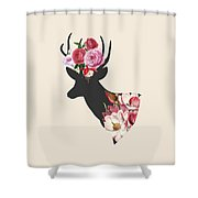 Floral Deer On Peach Shower Curtain