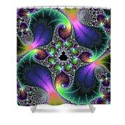 Floral Fractal Art Jewel Tones Vertical Shower Curtain