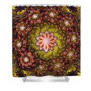 Floral Fractal Wreath  Shower Curtain