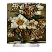 Floral In Glass Vase Shower Curtain