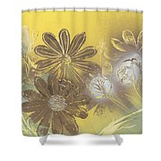 Floral In Gold And Yellow Shower Curtain