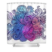 Blue Floral Indian Pattern Shower Curtain