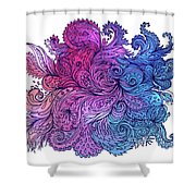 Lilac Floral Indian Pattern Shower Curtain