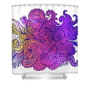 Purple Floral Indian Pattern Shower Curtain
