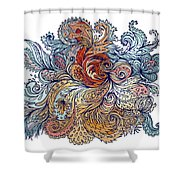 Brown Floral Indian Pattern Shower Curtain