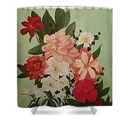 Floral On Green Shower Curtain