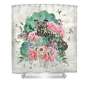 Floral Owl Shower Curtain