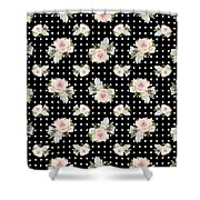 Floral Rose Cluster W Dot Bedding Home Decor Art Shower Curtain