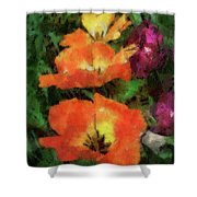 Floral Spring Tulips 2017 Pa 02 Vertical Shower Curtain