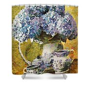 Floral Table Onset In Tiny Bubbles Shower Curtain