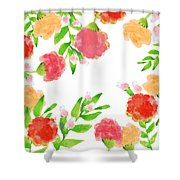 Floral Watercolor Border  Shower Curtain