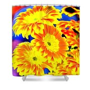 Floral Yellow Painting Lit Shower Curtain