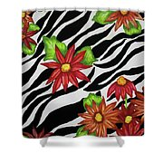 Floral Zebra Print Shower Curtain