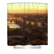 Florence And The Ponte Vecchio Dusk, Tuscany, Italy Shower Curtain