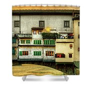 Florence - Boats Under The Ponte Vecchio Sunset - Untextured Shower Curtain