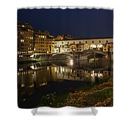 Florence Italy Night Magic - A Glamorous Evening At Ponte Vecchio Shower Curtain