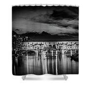 Florence Ponte Vecchio At Sunset Monochrome Shower Curtain