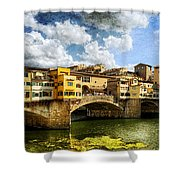 Florence -  Ponte Vecchio From The Northwestern Bank - Vintage Shower Curtain