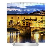 Florence - Ponte Vecchio Sunset From The Oltrarno Shower Curtain