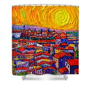 Florence Sunset 10 Modern Impressionist Abstract City Knife Oil Painting Ana Maria Edulescu Shower Curtain