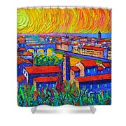 Florence Sunset 4 Modern Impressionist Abstract City Impasto Knife Oil Painting Ana Maria Edulescu Shower Curtain