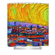 Florence Sunset 5 Modern Impressionist Abstract City Impasto Knife Oil Painting Ana Maria Edulescu Shower Curtain
