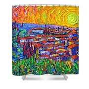 Florence Sunset 7 Modern Impressionist Abstract City Impasto Knife Oil Painting Ana Maria Edulescu Shower Curtain