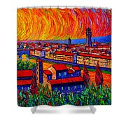Florence Sunset 9 Modern Impressionist Abstract City Impasto Knife Oil Painting Ana Maria Edulescu Shower Curtain