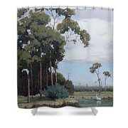 Florida Cypress With Birds Shower Curtain