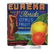 Florida Eureka Citrus Fruit Crate Label Shower Curtain