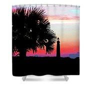 Florida Lighthouse Sunset Silhouette Shower Curtain