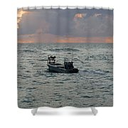 Florida Lobstermen At Dawn Shower Curtain