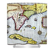 Florida: Map, 1591 Shower Curtain