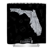 Florida Map Music Notes 2 Shower Curtain