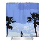 Florida Queen Palms   Shower Curtain