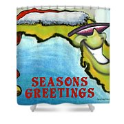 Florida Seasons Greetings Shower Curtain