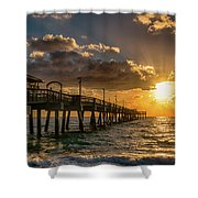Florida Sunrise At Dania Beach Pier Shower Curtain