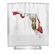 Florida Typographic Map Flag Shower Curtain