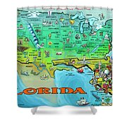 Florida Usa Cartoon Map Shower Curtain