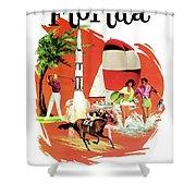 Florida, Vintage Travel Poster Shower Curtain