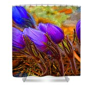 Flourescent Flowers Shower Curtain