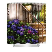 Flower - Hydrangea - Hydrangea And Geraniums  Shower Curtain by Mike Savad