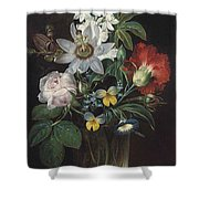 Flower And A Delphinium In A Glass Vase Shower Curtain