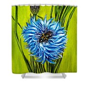 Flower And Bee Oil Painting Shower Curtain by Natalja Picugina