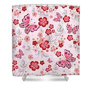 Flower And Butterfly Bj01 Shower Curtain