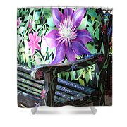 Flower Bench Shower Curtain