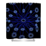 Flower Blue Shower Curtain