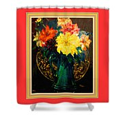 Bouquet For Mrs De Waldt H B With Decorative Ornate Printed Frame. Shower Curtain