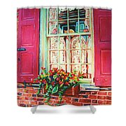Flower Box  And Pink Shutters Shower Curtain