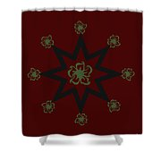 Star Flower - Red Shower Curtain